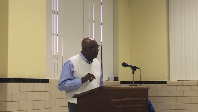 Berran Rogers, a former Accomack County School Board member, speaks during a public forum on Monday, Oct. 30, in Accomac, Va.. The forum's topic was an upcoming referendum on the school board selection method in Accomack County.