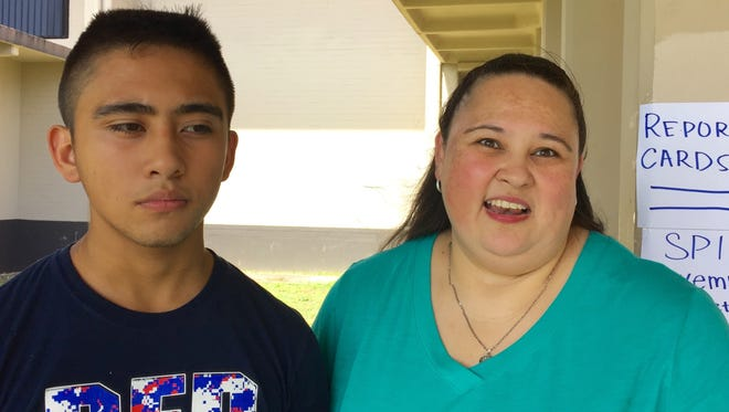 April Shelton says she's hoping classes start at 7:30 a.m. instead of 7:15 a.m. for her son Ryan Flowers, a sophomore at Tiyan High School. The Guam Department of Education surveyed families during Friday's parent-teacher conference about their preferred class start hours.