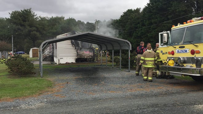 Firefighters from multiple stations are working to extinguish a mobile home fire near Nelsonia in Accomack County.
