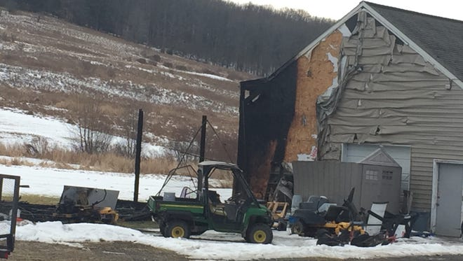 A fire left a driving range on Dimmock Hill Road in the town of Union a total loss Wednesday, Feb. 14, 2018.