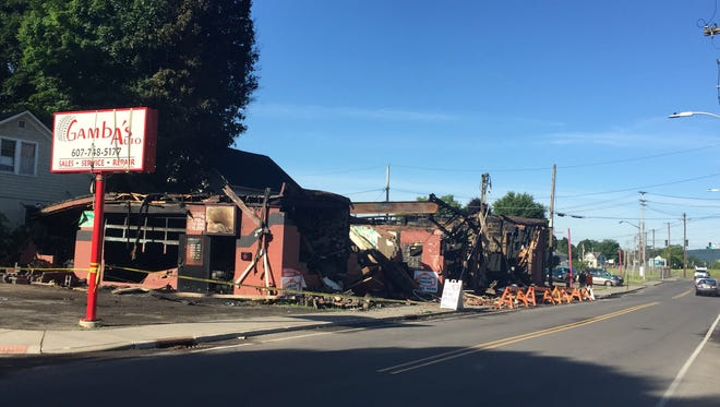 Gamba's Auto in Endicott was destroyed in a fire.