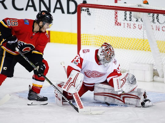 Calgary Flames forward' Matthew Tkachuk, drafted sixth overall in 2016, played in the NHL the year he was drafted. The Wings pick sixth overall this June.