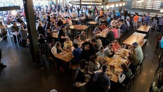 The beer hall is open daily (first come, first served) with a full menu and 25 beers on tap.