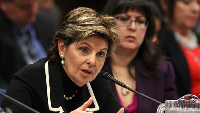 Attorney Gloria Allred and Assemblywoman Irene Bustamante Adams, D-Las Vegas (right), urge lawmakers to support a bill that would remove the criminal statue of limitations for sexual assault cases in Nevada during a hearing at the Legislative Building in Carson City, Nev., on Friday, March 13, 2015.