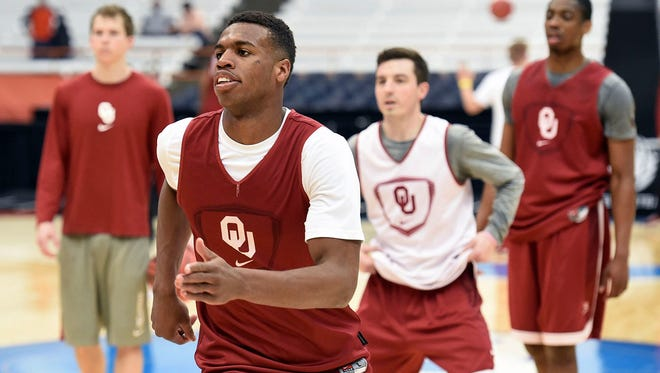 Oklahoma guard Buddy Hield runs drills during practice Thursday, March 26, 2015, in Syracuse, N.Y.