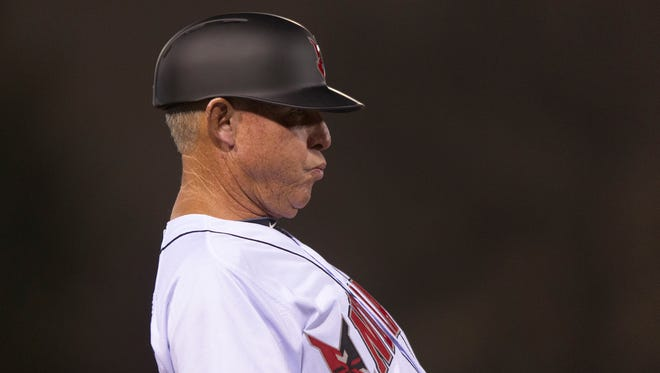 Indianapolis Indians manager Dean Treanor reacts to a strike call at the plate in the bottom of the seventh inning. The Indianapolis Indians hosted the Columbus Clippers for their home opener in MiLB action at Victory Field Thursday, April 9, 2015. The Clippers won 4-0.