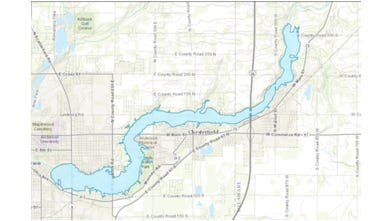 A map shows where a reservoir could be created through Anderson and in surrounding areas in Madison and Delaware counties. The project has not received approvals to procede.