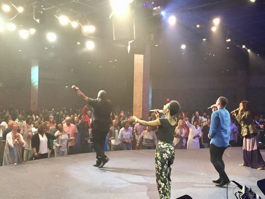 Gospel musician William McDowell leads thousands at Prayerfest.