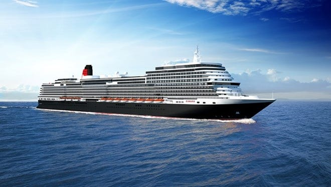 An artist's drawing of a new Cunard cruise ship scheduled to debut in 2022.