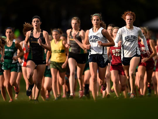 Bay Port's Savannah Huben, second from right, and Hattie