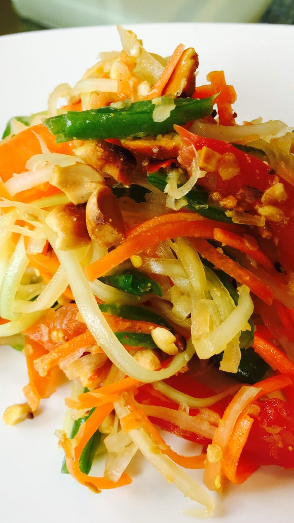 Papaya salad is one of many dishes you'll find at Pho'Tastic, a new restaurant opening in downtown Lafayette.