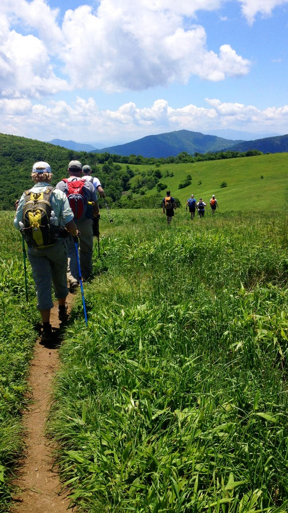 Hikers with the Southern Appalachian Highlands Conservancy hike on the Appalachian Trail. The Asheville-based land trust has earned national acreditation.