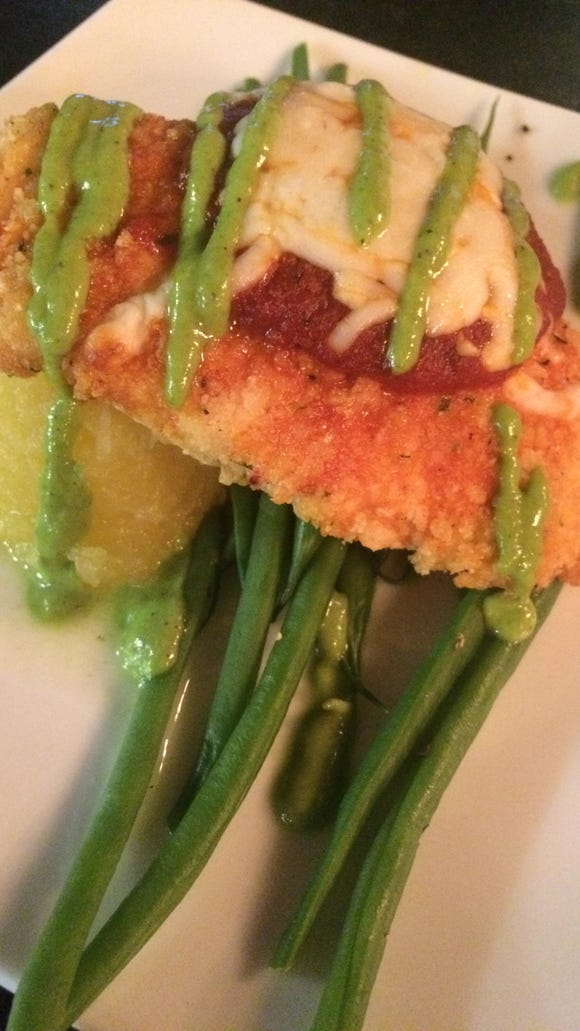 Chicken parmesan with spaghetti squash and green beans
