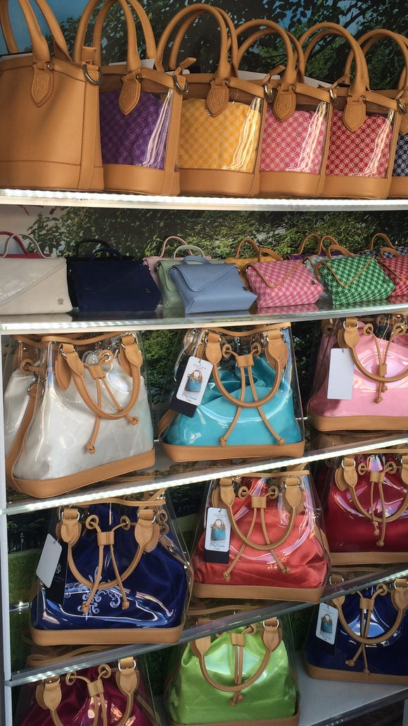 Dominie handbags on display at the ANA Inspiration in Rancho Mirage.
