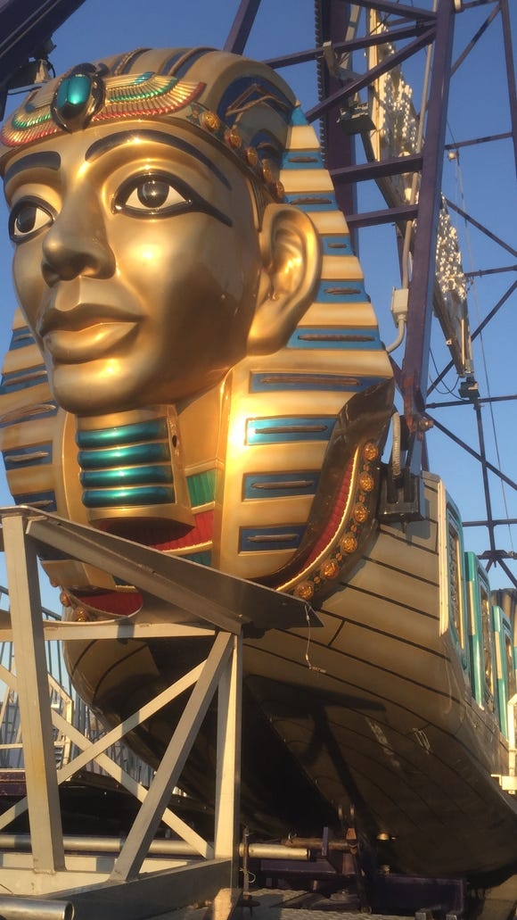The Pharaoh awaits passengers at the carnival at the Staunton Mall, which opens April 22, 2016.
