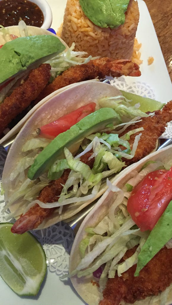The shrimp tacos at Tequila Azul come on house-made