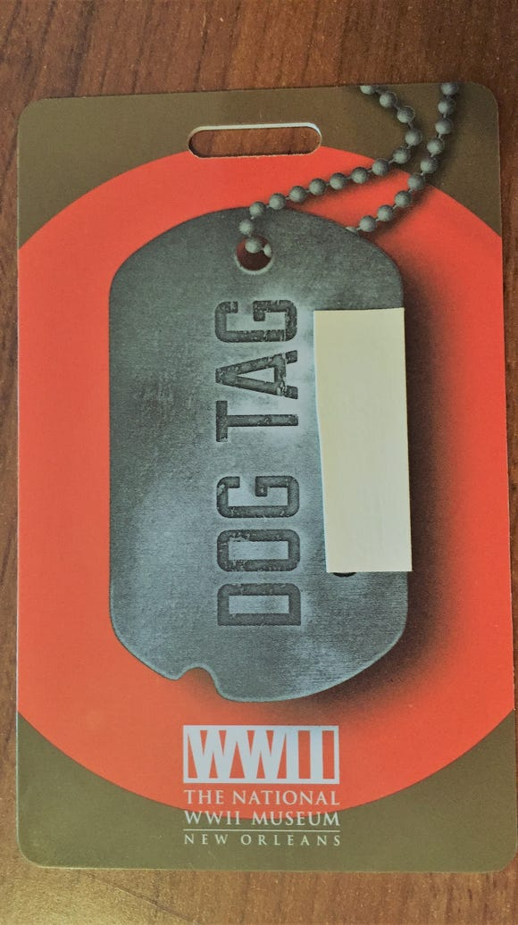 """Dog tag"" I got at the National World War II Museum"