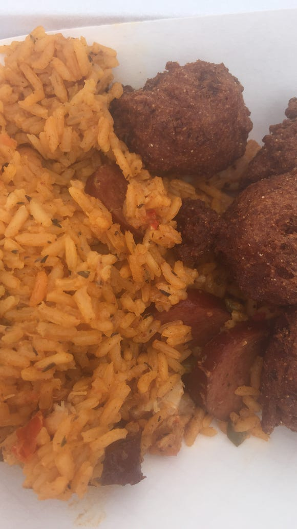 Swamp Daddy's jambalaya and crawfish hush puppies.