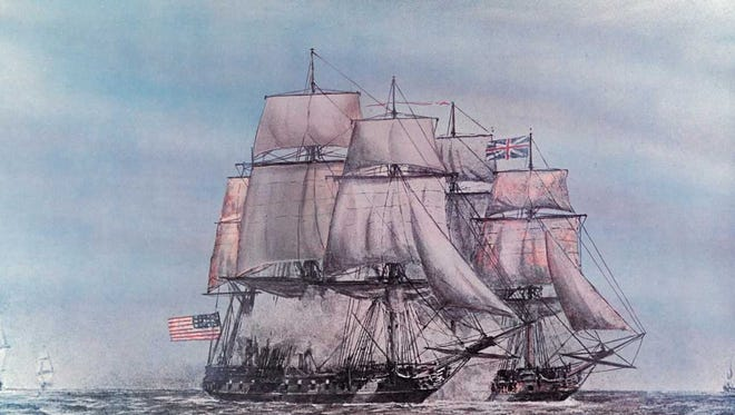 An artist's rendering of the last naval battle of the American Revolution where the USS Alliance defeated the HMS Sybil.