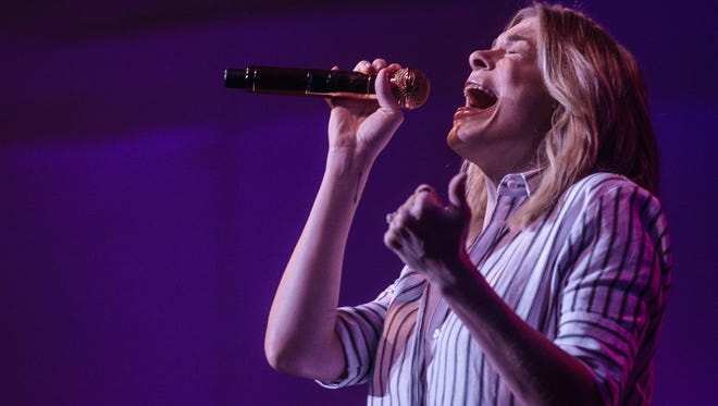 Music artist LeAnn Rimes sings to a sold-out crowd at Civic Hall Performing Arts Center in Richmond, Ind. on Saturday, Oct. 7, 2017.
