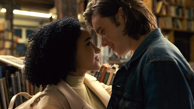 Amandla Stenberg as Maddy and Nick Robinson as Olly in 'Everything, Everything.' The couple's biggest barrier is her immune system rather than their different races.