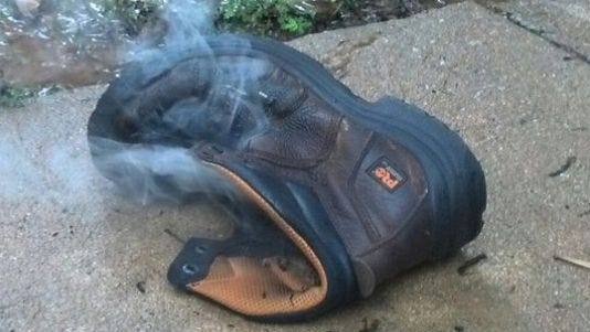 Georgia man was blown out of his work boots by lightning strike.