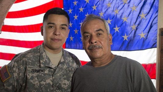 Gabriel Zermeño, left, with his father José Zermeño. José Zermeño has been in the U.S. illegally for more than 30 years, but may now get the chance at a green card through his son's military service.