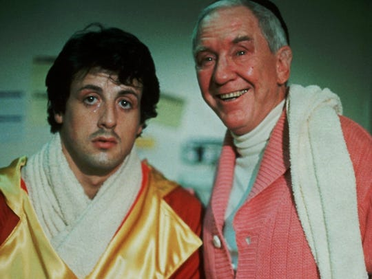 Sylvester Stallone, left, and Burgess Meredith in 1976's