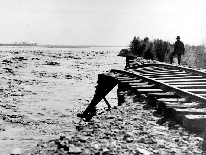 The Southern Pacific Railroad was forced to move it lines several times as the raging, unleashed Colorado River expanded the Salton Sea.