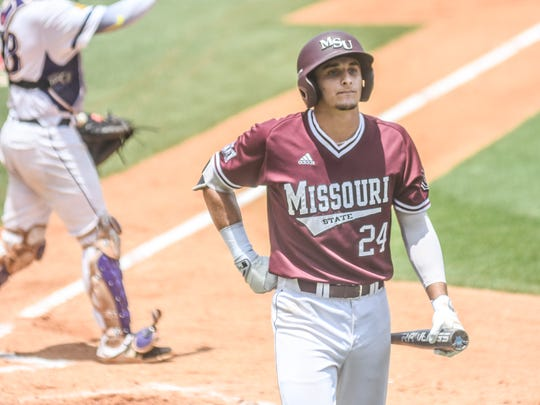 Missouri State catcher Drew Millas (24) walks back to the dugout after striking out against Tennessee Tech in the NCAA Oxford Regional, at Oxford-University Stadium in Oxford, Miss. on Saturday, June 2, 2018. (Bruce Newman, Oxford Eagle via AP)