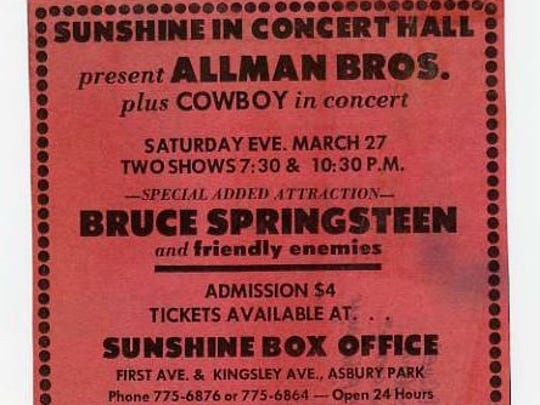 An advertisement for the Allman Brothers show, featuring