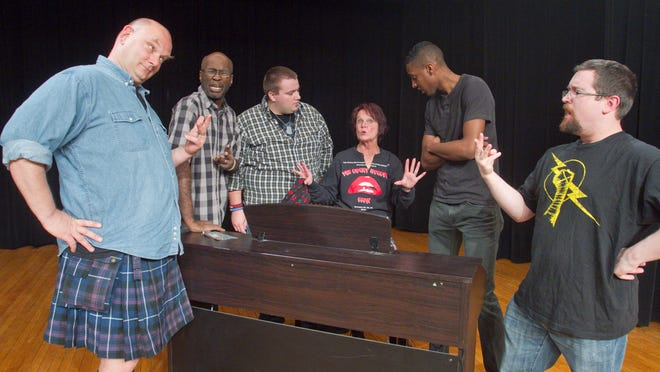 """In rehearsals for the Hartland Players' performance of """"The Full Monty"""" are, from left, Stephen Hofgartner, Deacon Acrie, Walter Johnston, Janet Winn, DeMario Johnson and Brian Pierce."""