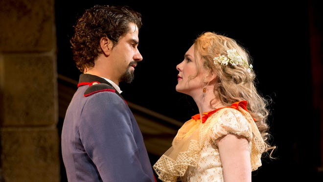Hamish Linklater and Lily Rabe in a scene from 'Much Ado About Nothing.'