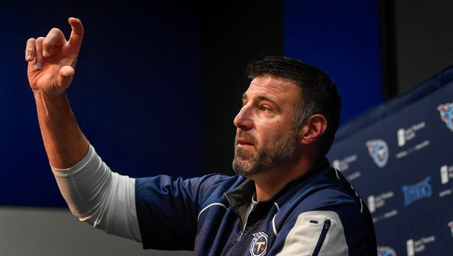 Titans coach Mike Vrabel addresses the media at Saint Thomas Sports Park in Nashville on Monday, April 9, 2018.
