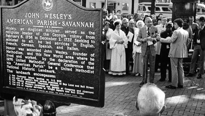 Then Savannah Mayor John Rousakis speaks at the historic marker dedication at the John Wesley statue in 1976. Columnist Loran Smith says any trip to Savannah makes you appreciative of the history of the city and the interesting towns and counties along the way.