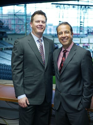 Geoff Blum (left) and Todd Kalas (right), son of Hall of Famer and longtime Phillies broadcaster Harry Kalas, serve as the TV broadcast team for the Houston Astros.