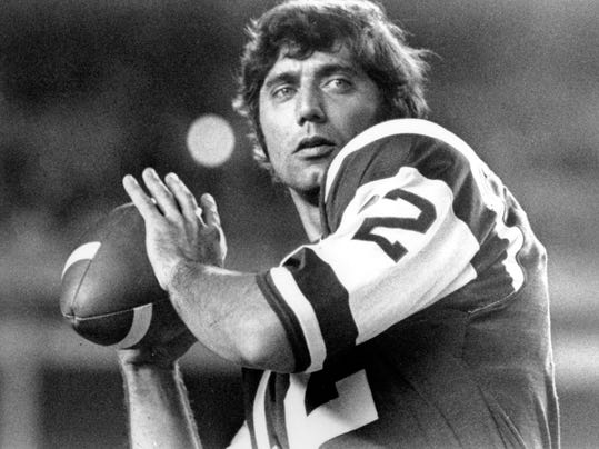 FILE - In this January 1970 file photo, New York Jets quarterback Joe Namath warms up before a game. The conversation about the team's greatest player, let alone quarterback, starts and ends with Namath. Broadway Joe might not have had gaudy career stats, but he's a Hall of Famer who still leads the franchise in several passing categories. (AP Photo, File)