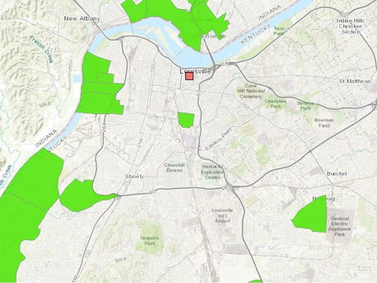 A map of food deserts located within Metro Louisville. Green areas indicate low-income neighborhoods where a large portion of residents live more than a mile from a full-service grocery store.