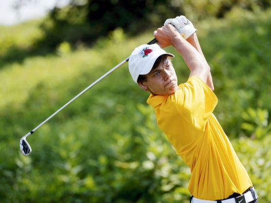Red Lion's Ian Schaeffer tees off on the third hole of Thursday's YAIAA Division I match at Springwood Golf Club. Schaeffer shot a 79 to lead Red Lion to a fifth-place finish.