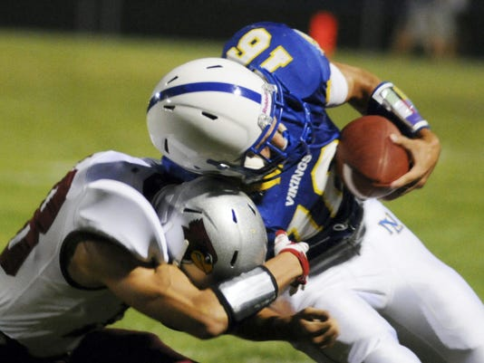 Northern Lebanon's Dylan Weaver runs the ball against Pine Grove during the game at Northern Lebanon on Friday, September 4, 2015. Ashley Walter - Lebanon Daily News