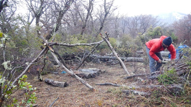 """Josh Morin of Great Falls sets up his campsite on """"The Wheel,"""" a new reality TV show on the Discovery Channel."""