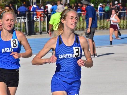 Canterbury's Jessica Edwards took fourth in the girls Class A 1,600-meter run Saturday in Bradenton.