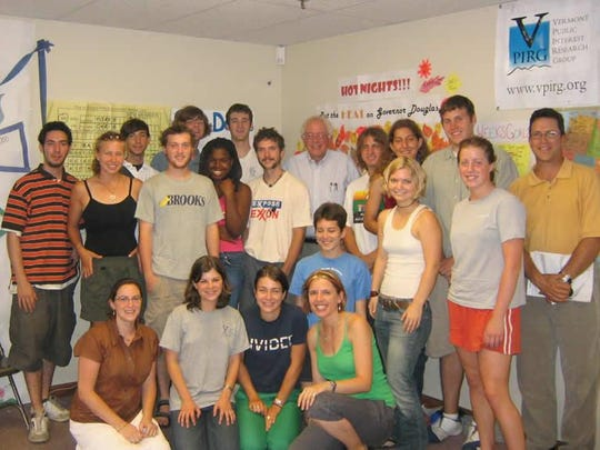Sen. Bernie Sanders, I-Vt., meets with canvassers in the summer of 2005.