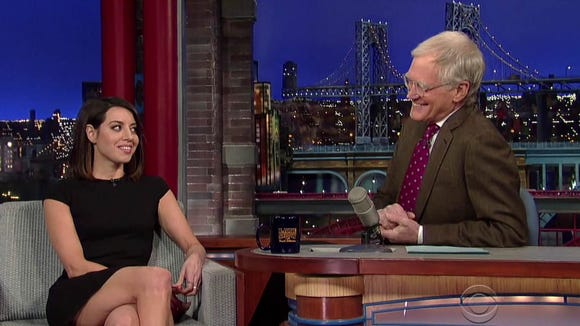 "Aubrey Plaza on ""The Late Show with David Letterman"" earlier this week."
