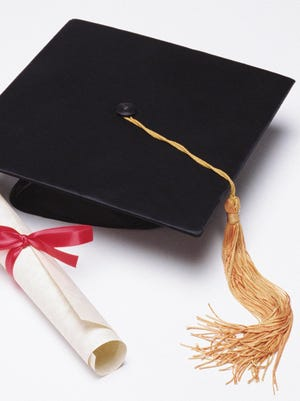 Mortar board and diploma.