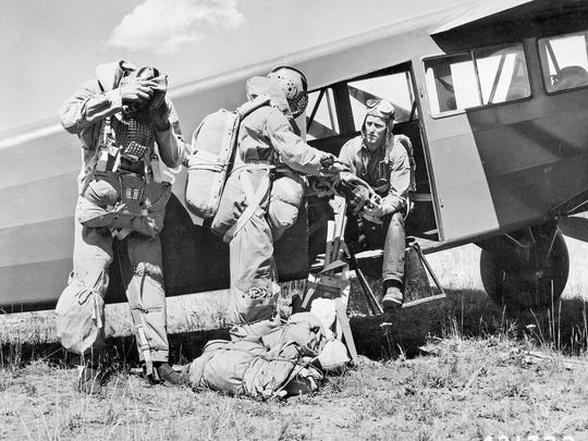 Smokejumpers in Missoula in the 1940s or '50s.