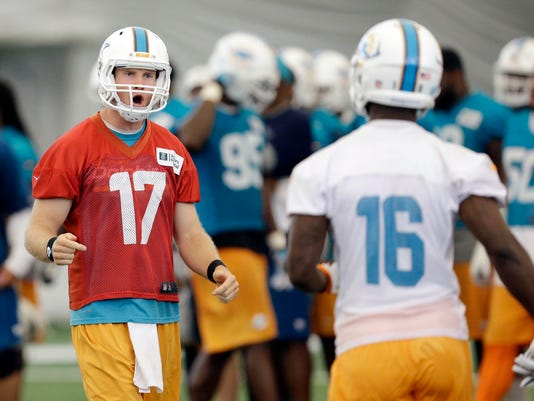 Miami Dolphins quarterback Ryan Tannehill (17) shows his frustration with wide receiver Gerald Ford (16) after a play during NFL football minicamp, Tuesday, June 17, 2014, at the team's training facility in Davie, Fla. (AP Photo/Wilfredo Lee)