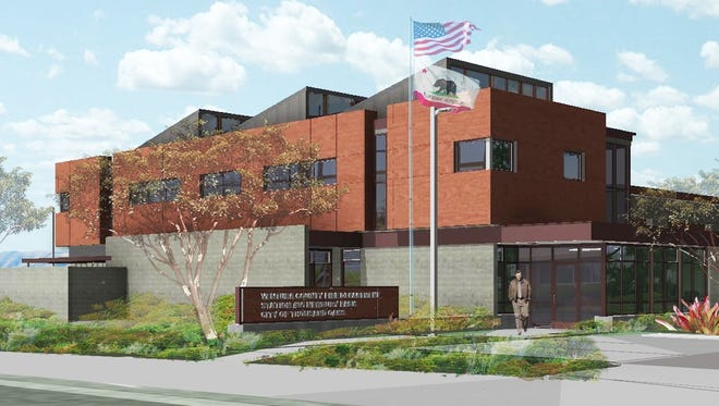 An artist's rendering shows the design of a new fire station in Newbury Park.
