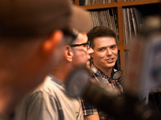 """Dad Rock's"" Patrick Foster, Jim Lenahan and The Tennessean's music writer Dave Paulson talk while in the Acme Radio studio at Acme Feed & Seed."