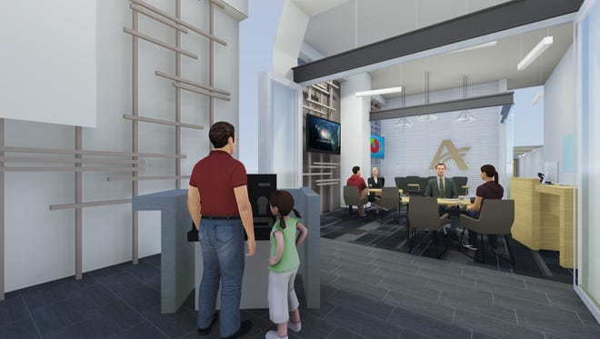 A rendering shows the front lobby of American State Bank, which is renovating the Carpenter building.
